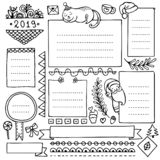 Bullet journal hand drawn vector elements for notebook, diary and planner. stock illustration