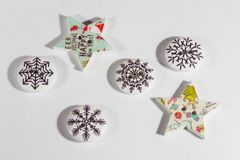 Xmas buttons. Different shapes buttons xmas theme six star and round stock image