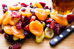 Xmas Cake Mix of soft fruits soaking up added rum, brandy and sh Stock Photos