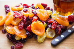 Xmas Cake Mix of soft fruits soaking up added rum, brandy and sh. Erry stock photo