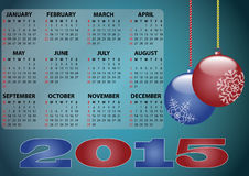 2015 xmas calendar. Illustration of 2015 ball xmas calendar Stock Photography