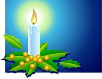 Xmas candle 2. Christmas candle with holly berries and leaves in blue background Stock Photography