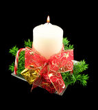 Xmas Candle With Bow And Decorations Royalty Free Stock Image