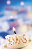 Xmas candle, close-up Royalty Free Stock Photography