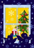 Xmas card. With angels look into window vector illustration