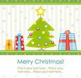 Xmas card. Festive invitation or greeting card design with xmas tree and presents vector illustration