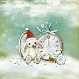 Xmas card. Christmas greeting card decorated with clock and a rabbit Royalty Free Stock Photo