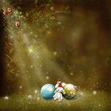 Xmas card. Christmas greeting card decorated with christmas tree and a rabbit Royalty Free Stock Images
