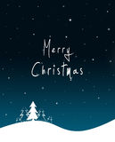 Xmas card. Blue Christmas background with white fir tree, stars and Merry Christmas text Royalty Free Stock Images