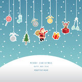 Xmas card, blue background. Christmas greeting card, red background Royalty Free Stock Photo