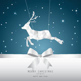Xmas card, blue background. Christmas with silver reindeer greeting card, night background Royalty Free Stock Image