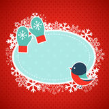 Xmas card with bullfinch and mittens Royalty Free Stock Photo