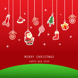 Xmas card. Christmas greeting card, red background Royalty Free Stock Image