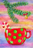Xmas card with cup Royalty Free Stock Photo