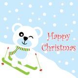 Xmas card with cute bear play ski  cartoon on snow background, Xmas postcard, wallpaper, and greeting card Stock Photo