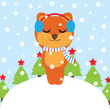 Xmas card with cute Fox enjoy music  cartoon on snow background, Xmas postcard, wallpaper, and greeting card Stock Image