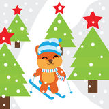 Xmas card with cute Fox play ski on snow mountain  cartoon, Xmas postcard, wallpaper, and greeting card Stock Photo