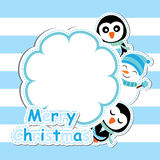 Xmas card with cute penguin and snowman  cartoon on flower frame, Xmas postcard, wallpaper, and greeting card Stock Photos