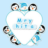 Xmas card with cute penguin and snowman  cartoon on love frame, Xmas postcard, wallpaper, and greeting card Stock Photos
