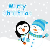 Xmas card with cute penguin and snowman vector cartoon on snow fall background, Xmas postcard, wallpaper, and greeting card Royalty Free Stock Photo