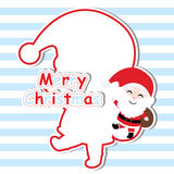 Xmas card with cute Santa Claus  cartoon on blue striped background, Xmas postcard, wallpaper, and greeting card. Illustration Stock Photos