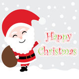Xmas card with cute Santa Claus  cartoon on snow background, Xmas postcard, wallpaper, and greeting card. Illustration Royalty Free Stock Photo