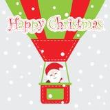 Xmas card with cute Santa Claus fly with hot air balloon  cartoon, Xmas postcard, wallpaper, and greeting card Stock Photography