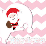 Xmas card with cute Santa Claus vector cartoon on pink chevron background, Xmas postcard, wallpaper, and greeting card. Vector illustration Stock Images