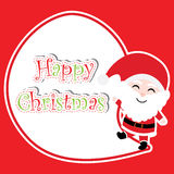 Xmas card with cute Santa Claus vector cartoon on red background, Xmas postcard, wallpaper, and greeting card. Vector illustration Stock Photography