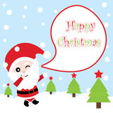 Xmas card with cute Santa Claus vector cartoon on snow fall background, Xmas postcard, wallpaper, and greeting card. Vector illustration Royalty Free Stock Photos