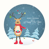Xmas card deer winter evening landscape cutout Stock Photos