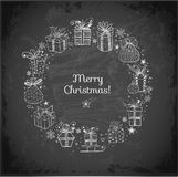 Xmas card with doodle sketch gift boxes. On blackboard. Vector illustration Stock Photography