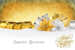 Xmas card gold silver Stock Image