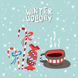 XMas card. Illustration of a cup with hot Stock Images