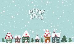 Xmas card. Illustration of houses on a snowy Royalty Free Stock Images