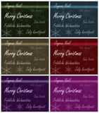 Xmas card multiple languages. Merry Christmas card in different languages Royalty Free Stock Photography