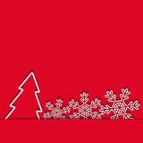 Xmas card of paper Christmas tree and snowflakes Royalty Free Stock Photography