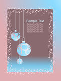 Xmas card in pastel shades. A clip art illustration of a decorative Christmas page border with holiday embellishments of snowflakes and three blue-pink ornaments Royalty Free Stock Image