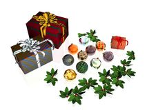 Xmas Card, presents and balls. Royalty Free Stock Photo