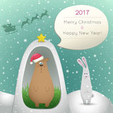 Xmas card. Santa congratulates rabbit and bear. Xmas card. Cock, rooster 2017 Year. Santa congratulates rabbit and bear with Christmas and New Year Stock Images