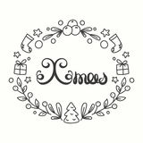 Xmas Card. Winter Holiday Typography. Handdrawn Lettering. Frame With Line Art Christmas Elements. Stock Image