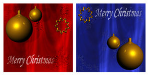 Xmas cards. Two Xmas cards with blue and red background Royalty Free Illustration