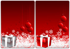 Xmas cards. Winter theme cards with beauty gift and  snow for your message Stock Photography