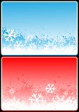 Xmas cards. Winter theme cards with snow for your message Royalty Free Stock Images