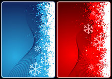 Xmas cards. Winter theme cards with wave and snow for your message Royalty Free Stock Photography