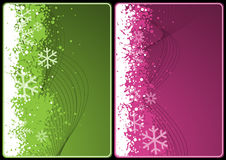 Xmas cards. Winter theme cards with wave and snow for your message Royalty Free Stock Photo