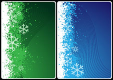 Xmas cards. Winter theme cards with wave and snow for your message Stock Photography