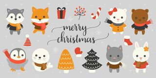 Xmas character and elements with merry christmas hand lettering font. For winter season, christmas tree, polar bear, fox, Siberian husky, cat, bunny, seal Royalty Free Stock Photo
