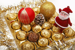 Xmas chocolate gift stock images