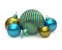 Xmas Christmas balls group decoration five shiny colorful blue yellow royalty free illustration